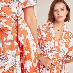 Anthropologie Dresses - Anthropologie Janae Maxi Shirtdress Red Floral
